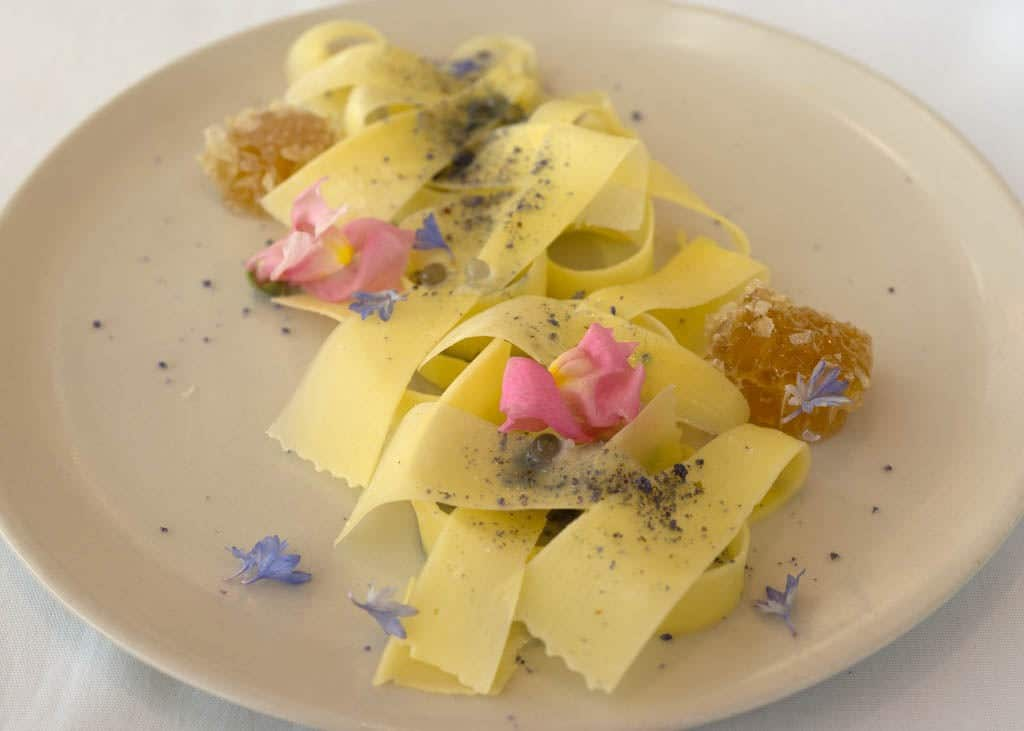 GOMA Restaurant - Honeycomb, violets, spherified violet. From Byron Bay - Photo credit Charles Haynes